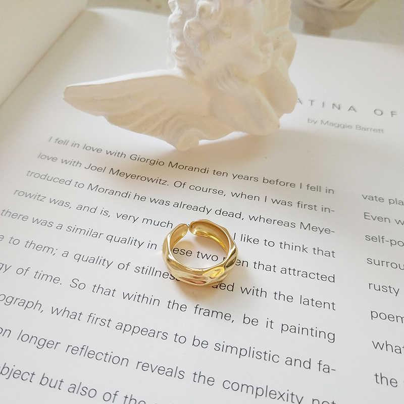 GHIDBK Подлинная 925 кованые из стерлингового серебра двухслойные кольца для женщин эффектные минималистичные Открытые Кольца простые смелые несколько колец