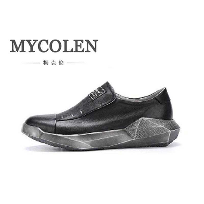 MYCOLEN 2018 New Winter Top Quality Geometric Men Shoes Casual Genuine Leather Flat For Adults Breathable Light Soft Flats bimuduiyu new england style men s carrefour flat casual shoes minimalist breathable soft leisure men lazy drivng walking loafer