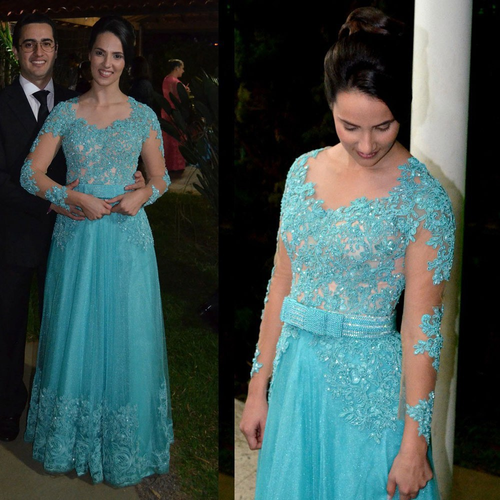 New Arrival Sheer Neckline Appliques Beaded Lace Long Sleeve   Prom     Dresses   Elegant Party   Dress   Blue