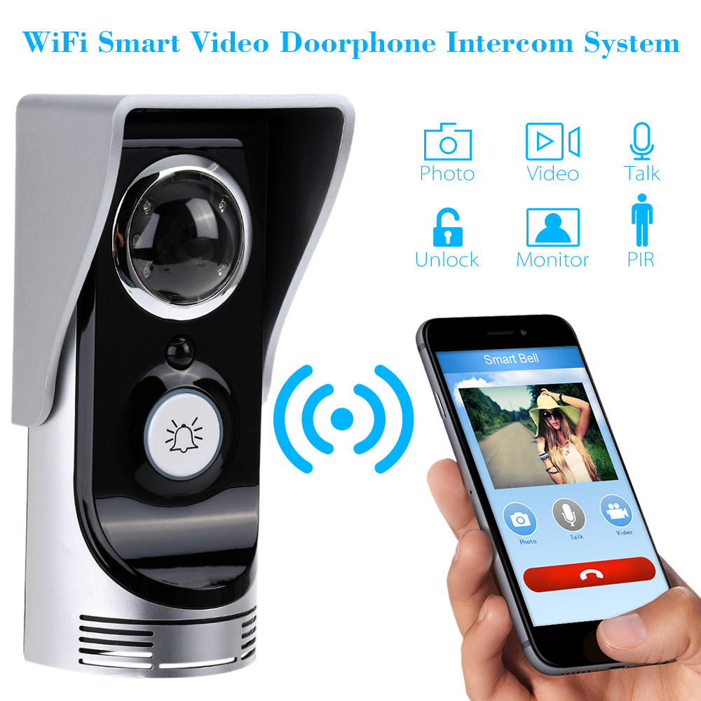 Wireless Video Door Phone Wifi Video Doorbell intercom Peehole Camera PIR IR Night Vision Video Doorphone Rainproof SmartPhone zilnk video intercom hd 720p wifi doorbell camera smart home security night vision wireless doorphone with indoor chime silver