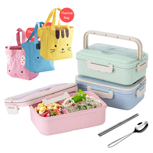 Wheat Straw Lunch Box Bento Box Snack Box Food Box Food Storage Container With Dinnerware Set Thermal Bag Microwave Available