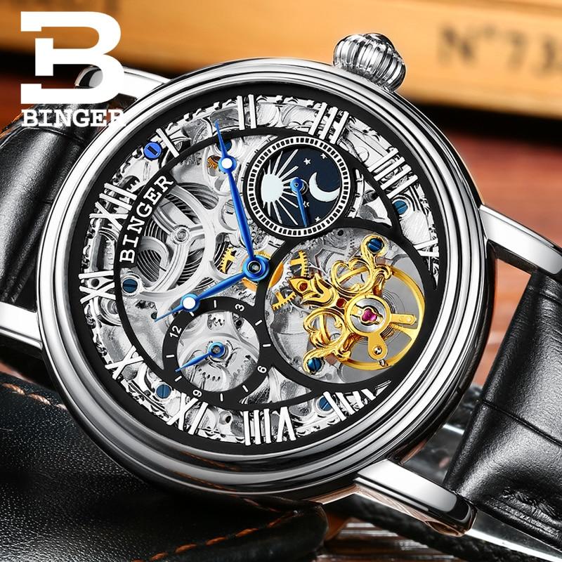 Switzerland BINGER Watches Men luxury brand Tourbillon Relogio Masculino water resistant Skeleton Mechanical Clock B-1171-3
