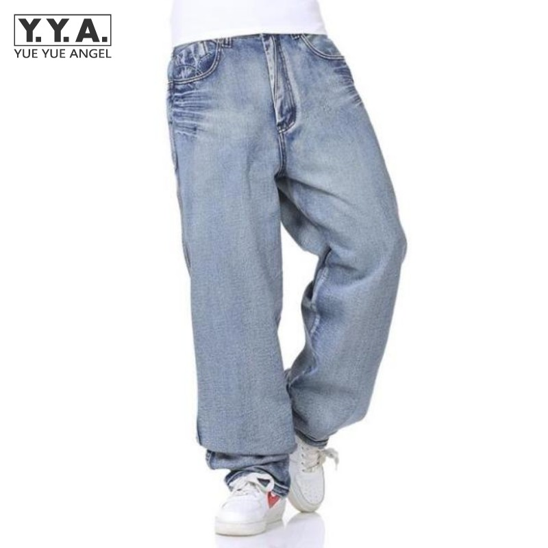 Light Blue Mens Baggy Jeans Retro Harem Pants Zipper Fly Straight Loose Streetwear Denim Trousers Classic Washed Cargo Men Jeans denim straight leg loose mens trouser jean chic pants baggy pocket cargo pants trousers loose jeans blue plus size free shipping