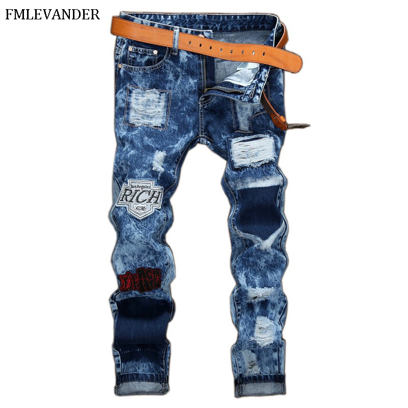 High Quality Vintage Washed Hole Ripped   Jeans   Straight Pants Stretch Denim Causal Men   Jeans