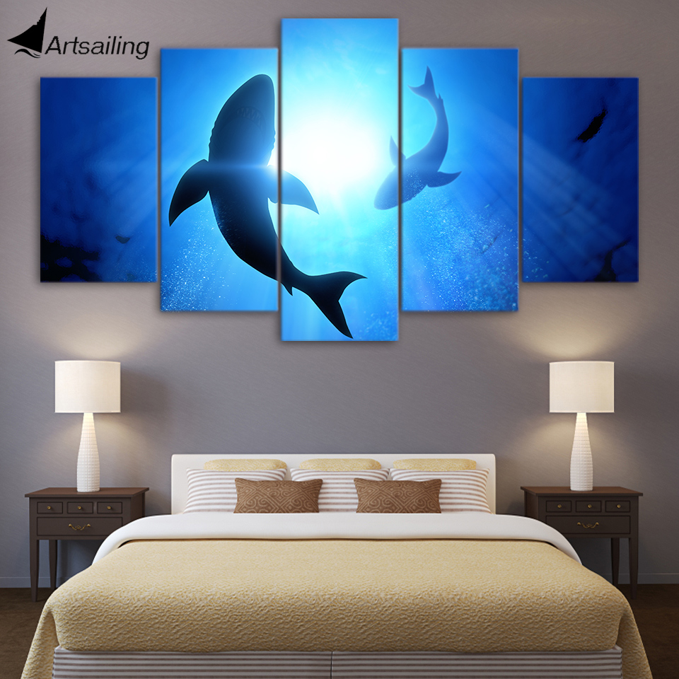 HD Printed 5 Piece Canvas Art Abstract Shark Painting Blue Ocean Wall Pictures for Living Room