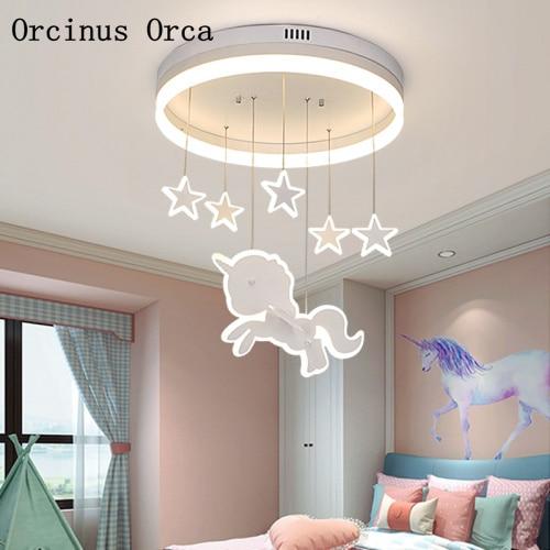 US $205.32 13% OFF|Cartoon Creative Unicorn Chandelier Girls Bedroom  Children\'s Room Princess Chandelier Modern Simple LED Chandelier-in Pendant  ...