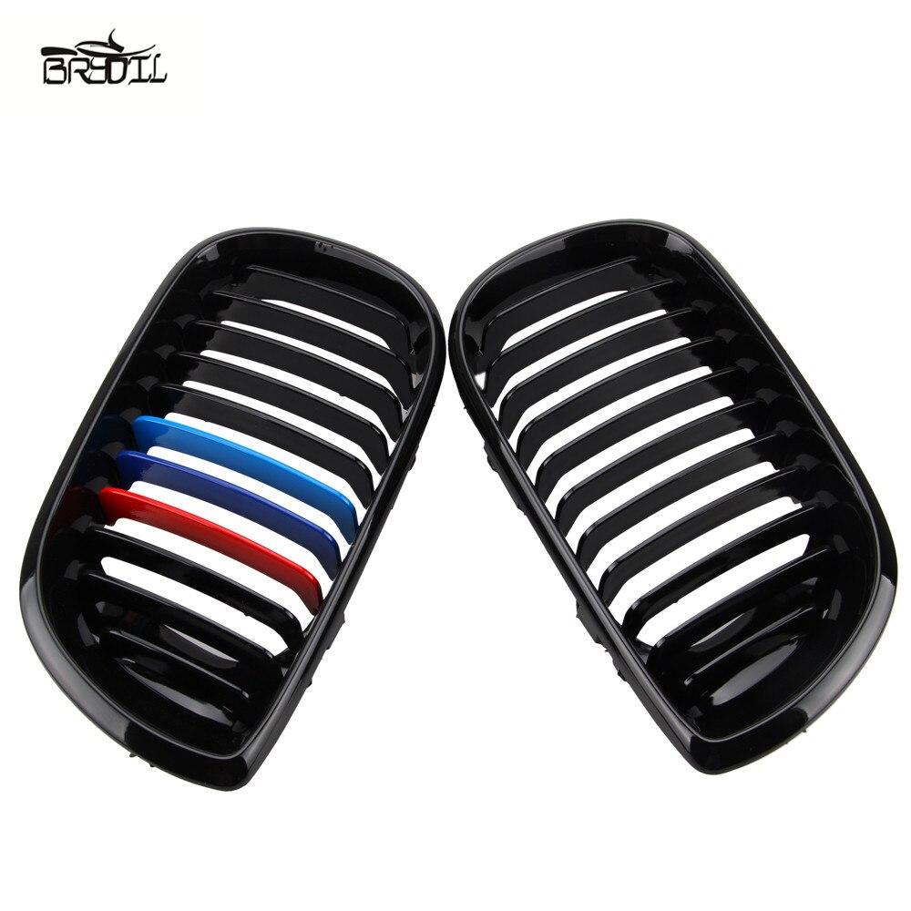 1 paire de calandre avant m-color pour BMW E46 4D 3 Series 2002-2005 noir brillant