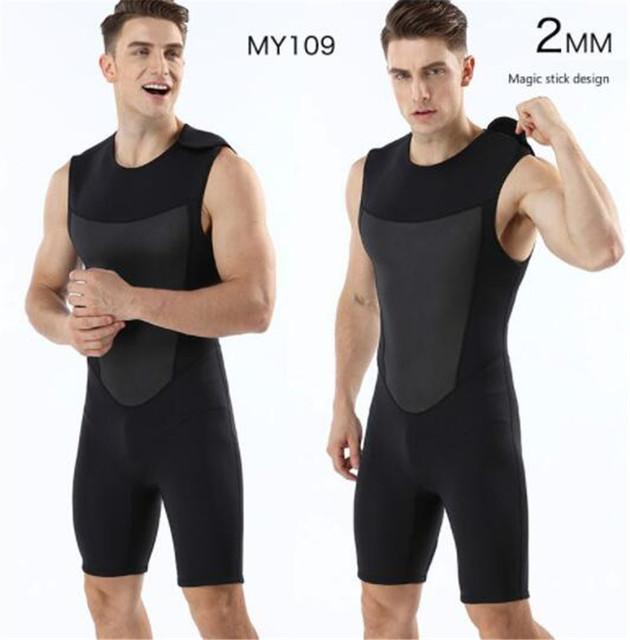 Mens 2mm sleeveless one-piece vest Neoprene men Diving Wetsuit Snorkling Suit Swimsuit Back Zipper Warm Wetsuits Vests