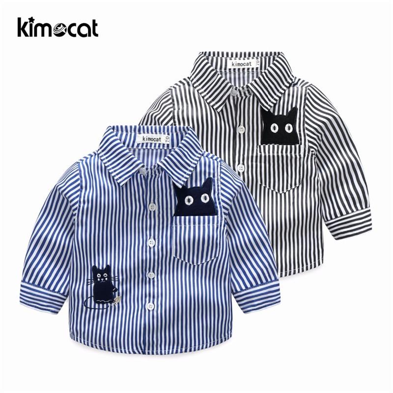 Kimocat Baby Boy Clothes England School Lucky Child Kids White Blouse New Style Boys Shirt Beach Clothing Cotton Plaid