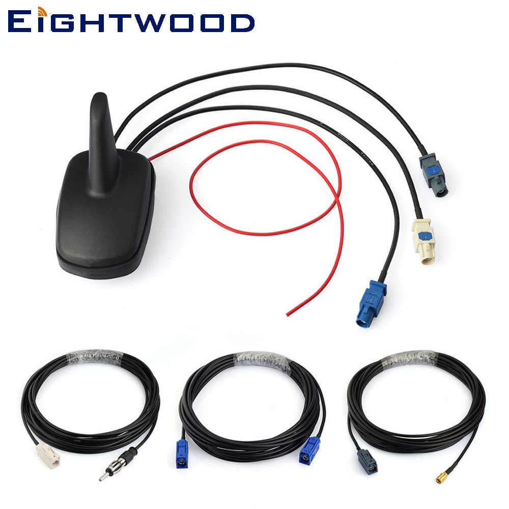 Eightwood Car DAB FM Digital Radio Amplified Antenna with GPS Roof Mount Aerial and SMB Shark Fin Antenna DAB Kit