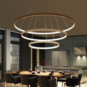 Image 3 - 60 Cm 80 Cm 100 Cm Moderne Hanger Verlichting Voor Woonkamer Eetkamer Cirkel Ringen Acryl Aluminium Body Led plafond Lamp Armaturen
