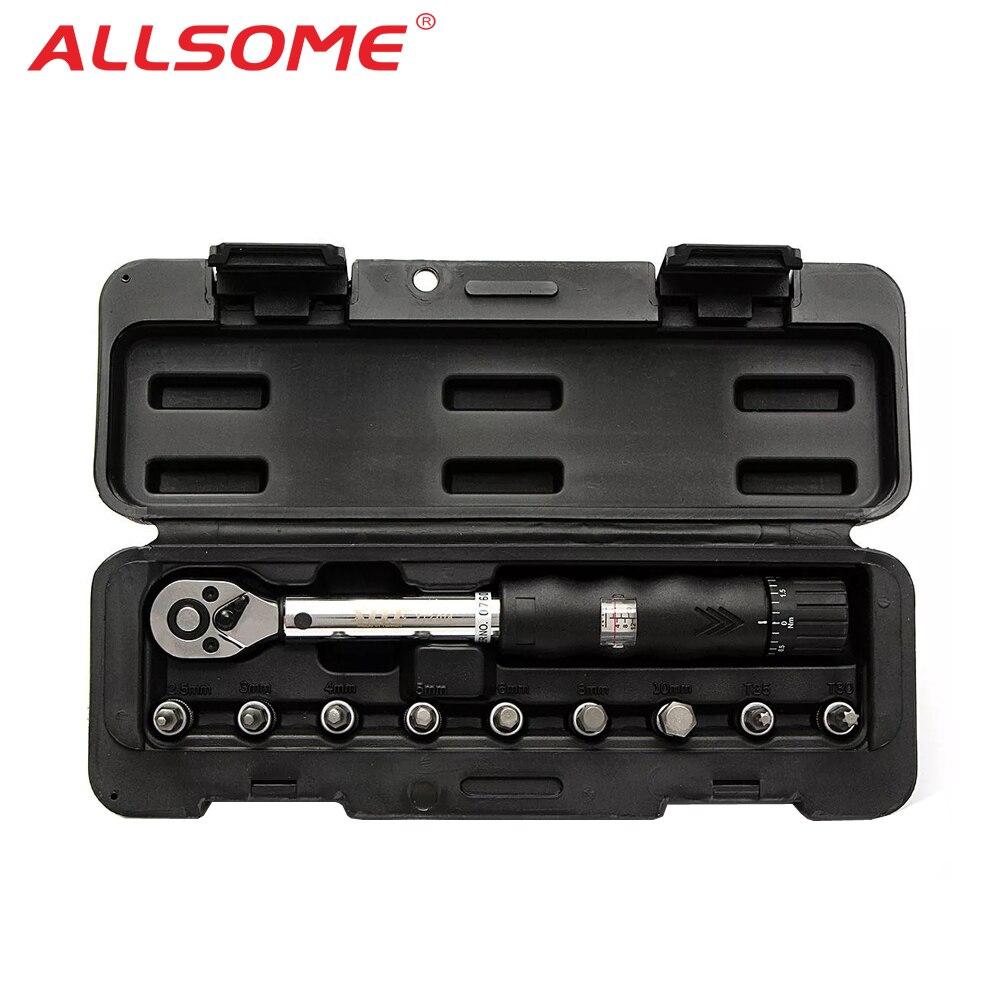 ALLSOME 1/4inch Drive 2-14NM Bike Car Drive Torque Wrench Key Tool Socket Set Kit HT2689