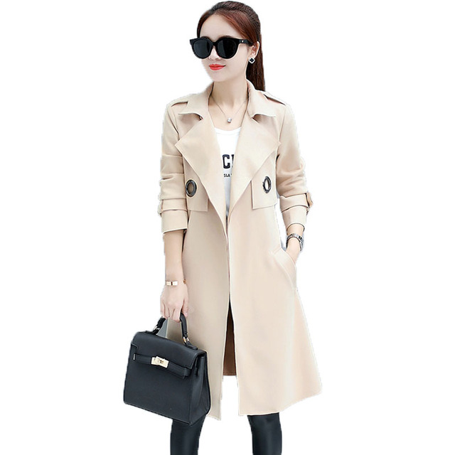 New 2017 Autumn Suede Trench Coat For Women Casual Medium-long Slim Female Overcoat Long Sleeve Turn-down Collar Casaco Feminino