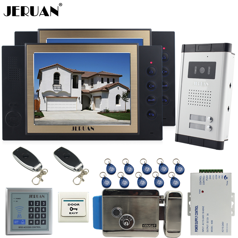 JERUAN Apartment 8`` Video Door Phone Record Intercom System kit 700TVL Camera RFID Access Control 2 Remote Control For 2 House digital electric best rfid hotel electronic door lock for flat apartment