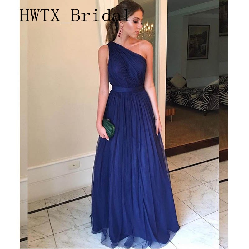 Bleu Royal une épaule robes de demoiselle d'honneur longue élégante doux Tulle dos nu une ligne robe de soirée de mariage 2019 arabe femmes robes