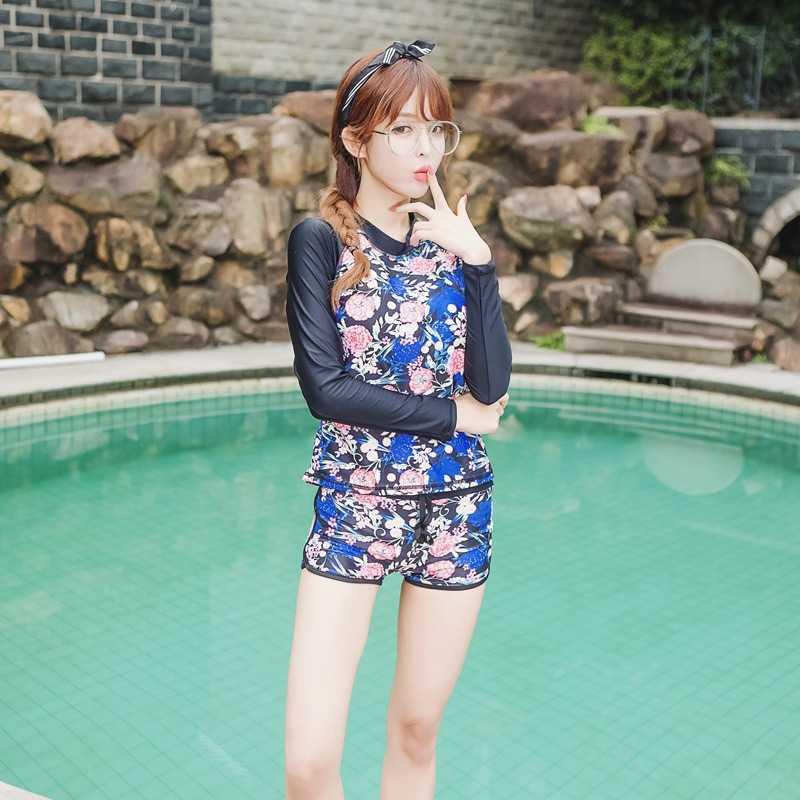 Aipbunny Korea Lengan Panjang Bunga Ruam Penjaga Wanita K Berlaku Baju Renang Wanita Lycra Surf Baju Renang Olahraga Luar Ruangan Pakaian Renang