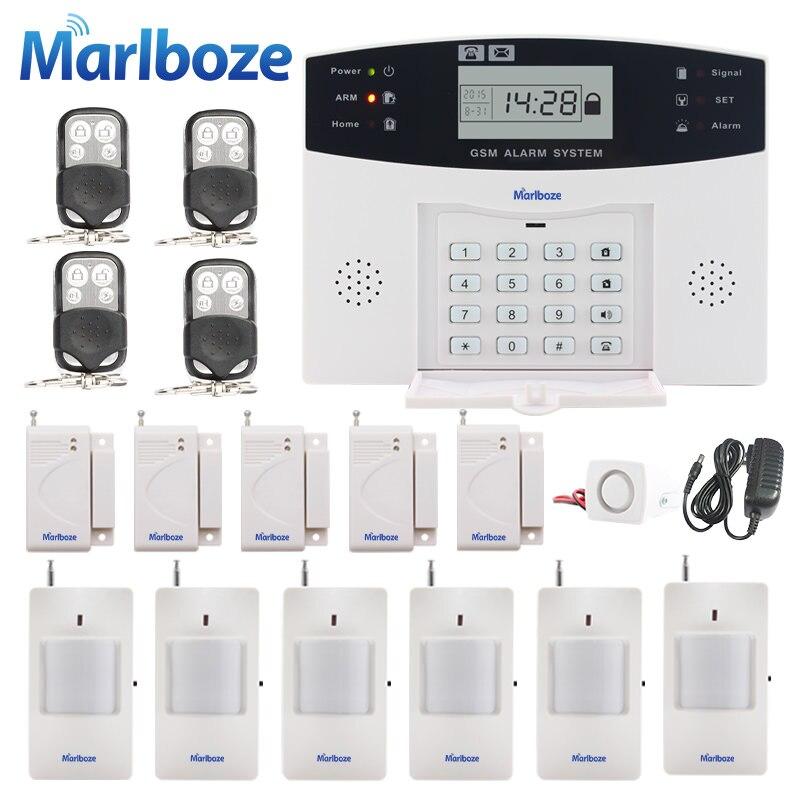 imágenes para Mensaje de Voz de Control Remoto de Metal sensor de puerta Inalámbrico de Seguridad Para el Hogar GSM Pantalla LCD sistemas de Alarma Sirena Atada Con Alambre Kit SIM SMS alarma