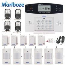 Из Металла Дистанционное управление голосовые подсказки Беспроводной датчик двери Главная безопасности GSM сигнализации ЖК-дисплей Дисплей проводной сирена комплект SIM sms сигнализации