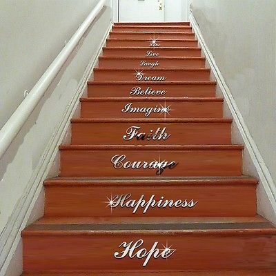 vinyl art stair decals wall sticker quote we are family in this house home decor in wall. Black Bedroom Furniture Sets. Home Design Ideas