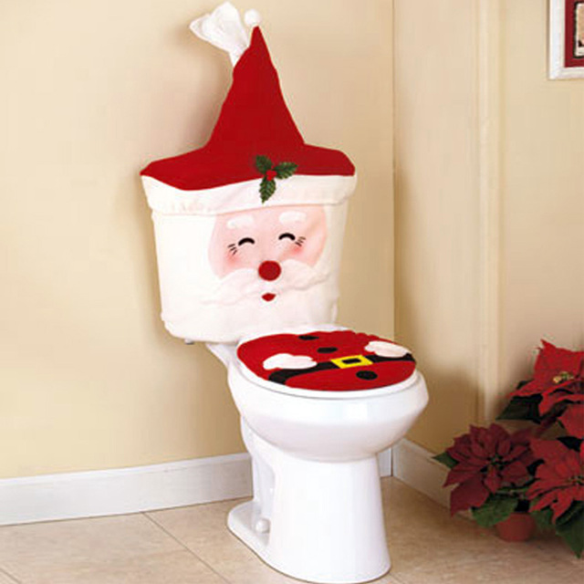2019 New Year Santa Claus Toilet Lid Cover with Water Tank Napkin Case 2pcs/set for Christmas Bathroom Decoration Supplies GA034
