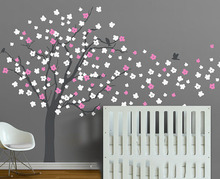 Large Tree Wall Stickers Colorful Leaves Tree Wall Decal Baby Nursery Tree Wallpaper Decorating DIY Tree Hot Sale T26