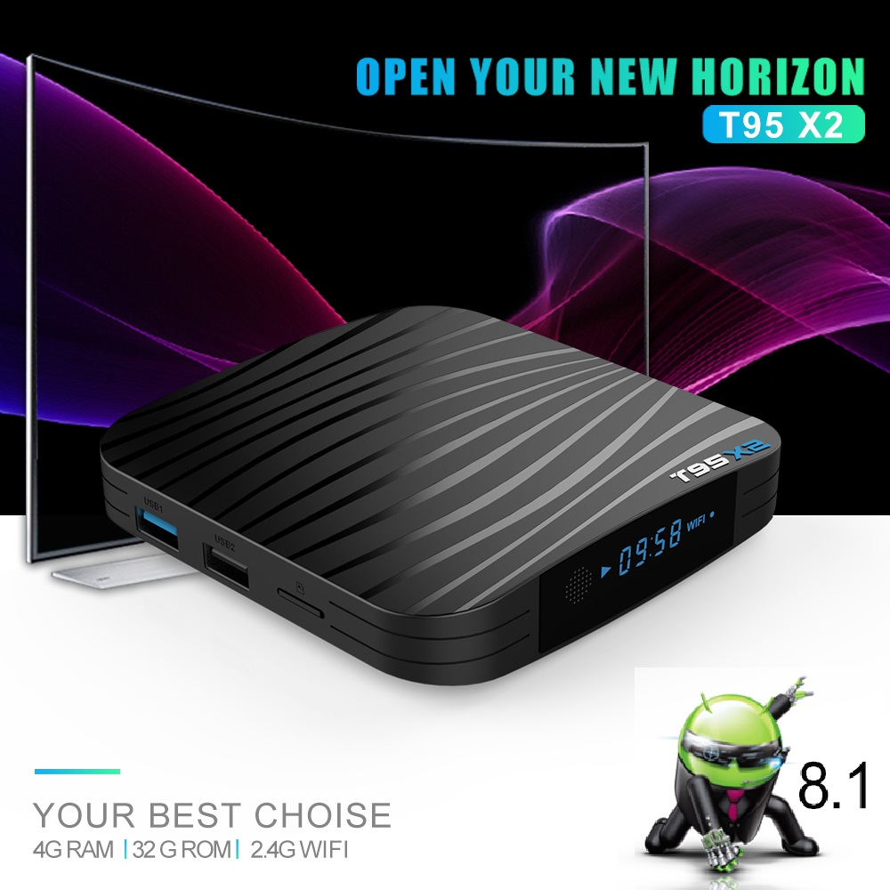 T95X2 boîtier de smart tv Android 8.1 4 GB 32 GB 64 GB Amlogic S905X2 Quad Core H.265 4 K Youtube lecteur multimédia Ensemble top Box T95 X2 - 3