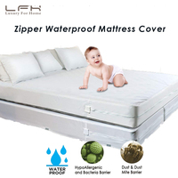 Queen Zippered Anti Mite Mattress Cover Waterproof Bed Cover For Mattress Protector Bed Sheet Hotel Mattress Zipper Bed Pad