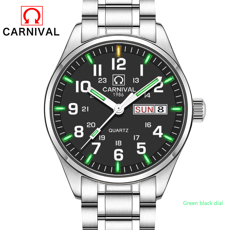 2017 Nowy Carnival Tritium Light Watch Quartz Double kalendarz Data Tritium Luminous Waterproof Military nurkowanie Zegarki pełna stal