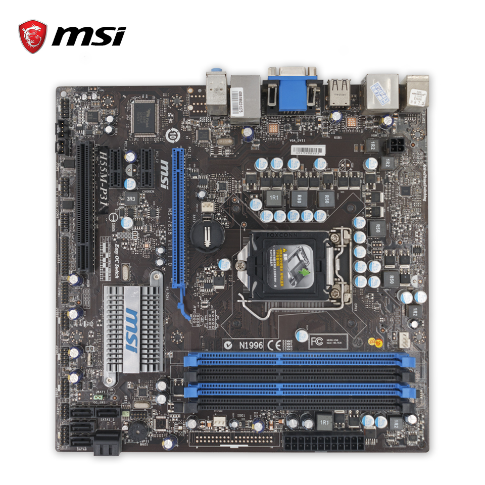 MSI H55M-P31 Original Used Desktop Motherboard H55 Socket LGA 1156 i3 i5 i7 DDR3 16G SATA2 USB2.0 Micro-ATX asus p7h55 m lx usb3 desktop motherboard h55 socket lga 1156 i3 i5 i7 ddr3 usb3 0 uatx