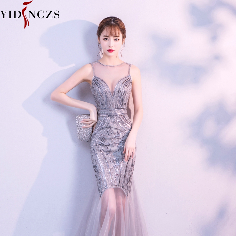 YIDINGZS вечерние платья с блестками и бисером длинное вечернее платье русалки 2019 новый стиль YD919