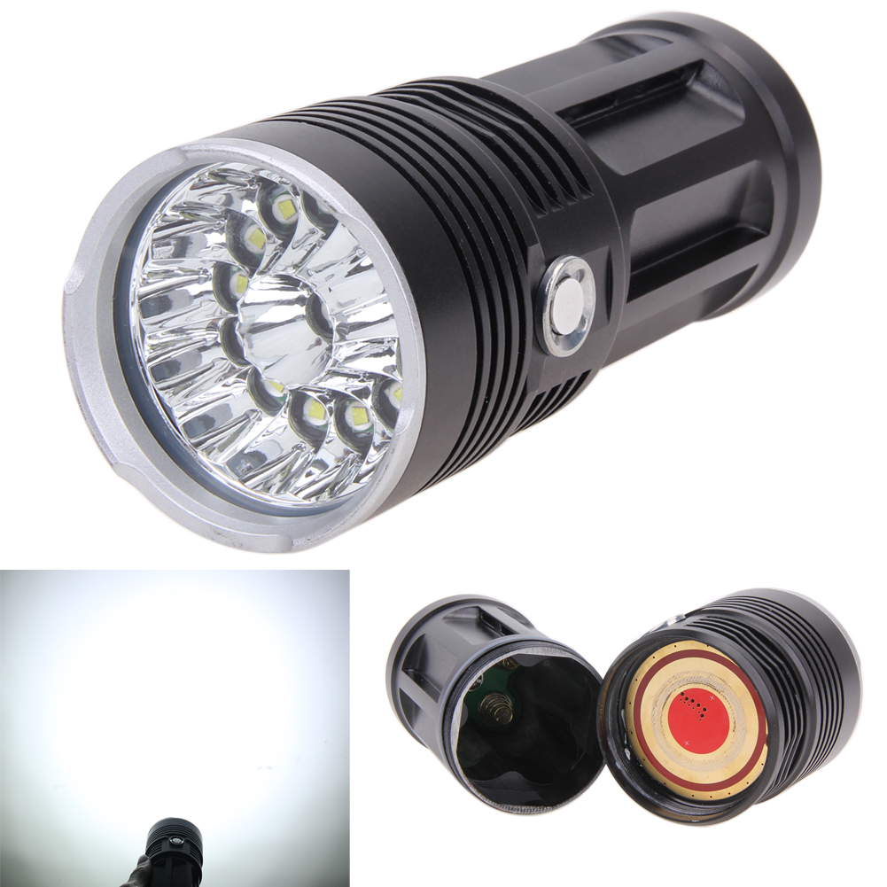 ФОТО T6 LED Flashlight 18650 Zoom Torch Waterproof Flashlights 14xCREE XM-L 34000LM Zoomable light For 4x18650 3.7v
