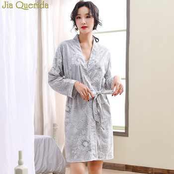 Luxury Female Floral Robe&Gown Sets Sexy V-neck Lace Trim Gowns + Kimono Bathrobe Elegant Homewear 100% Cotton Yukata Women Sexy