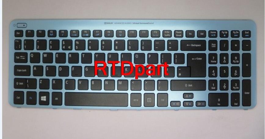 ФОТО Laptop Keyboard For ACER Aspire V5-571 MS2361 UK English Blue Frame With backlight NK.I1717.07W 9Z.N8QBW.K0U NSK-R3KBW0U