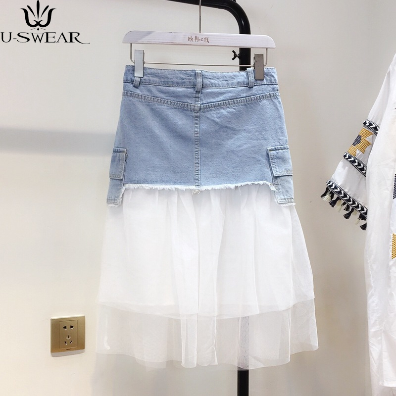 2018 Women's Summer Slim High Waist Fake Two Pieces of Mesh Stitching In The Long Section of Women High quality Denim Skirt