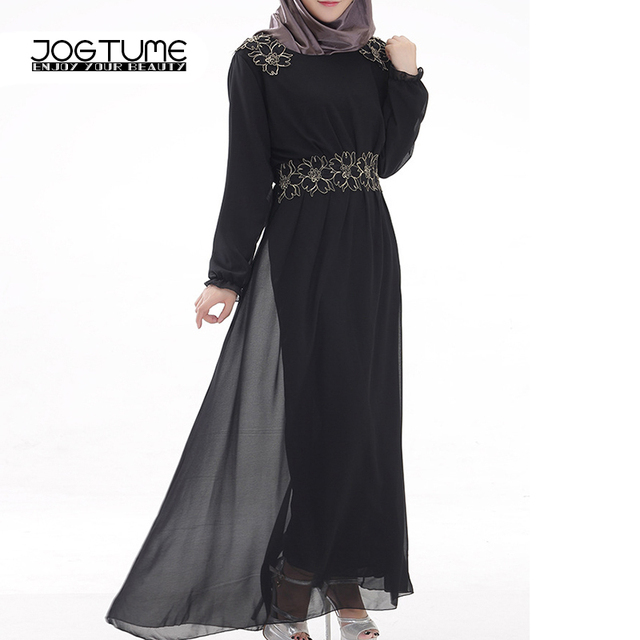 cb9a71f4616e5 US $19.16 29% OFF|JOGTUME Kaftan Islamic Abaya Women Fashion Muslim Dress  Blue Black 2017 Ladies Muslim Robes Gown Female Maxi Chiffon Long Dress-in  ...