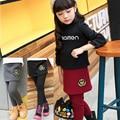 Детские брюки 2016 девочек-подростков леггинсы плюс бархат утолщение корона дети брюки зима искусственного двух частей брюки леггинсы