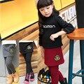 Calças das crianças 2016 meninas adolescentes coroa crianças calças inverno legging além de veludo espessamento falso duas peças culottes leggings