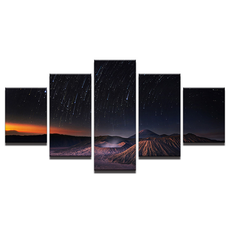 Canvas 5 Pieces Starry Sky Volcano Meteor Shower Landscape Picture For Modern Decorative Bedroom Living Room Home Wall Art Decor