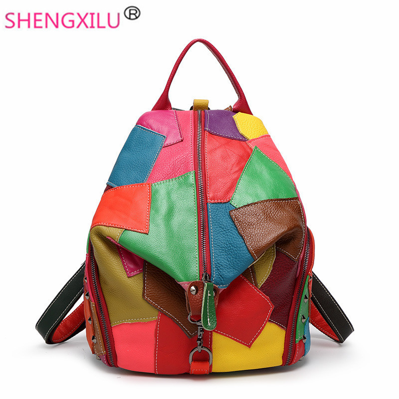 Shengxilu Patchwork Women Backpacks Korean Candy Color Girls Shoulder Bag Fashion Brand Travel Genuine Leather Women Bags