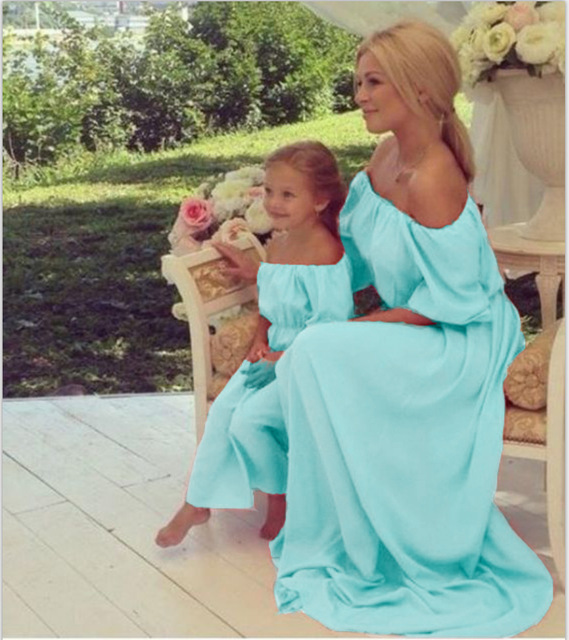 2018 Mommy and Me Family Matching Mother Daughter Dresses Clothes Pure Mom&Daughter Dress Kids Parent Child Outfits Off Shoulder 1