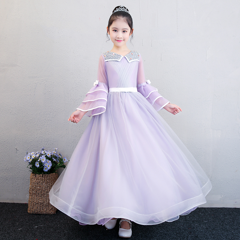Peter Pan Collar Wedding Pageant Ball Gown Dress for girl Falre Sleeve Girls Long Dresses Birthday Party Beading Costume JF541 sweet peter pan collar button back women s tank top