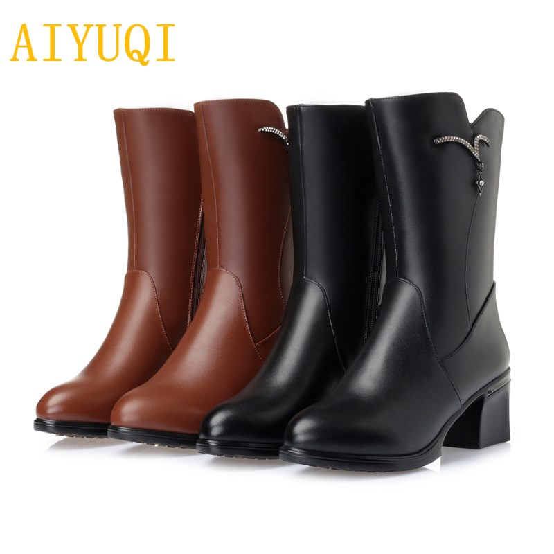 AIYUQI 2018 new genuine leather female winter boots .warm wool boots. large size 42 43 motorcycle boots .women suede snow boots aiyuqi women s winter boots 2018 new fashion genuine leather warm wool boots women motorcycle ladies shoes big size 41 42 43