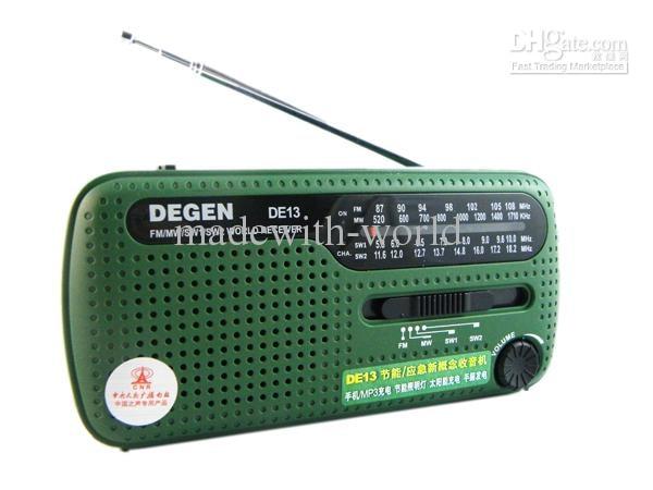 Tragbares Audio & Video Radio Diszipliniert 20 Teile/los Degen De13 Radio Fm Am Sw Crank Dynamo Solar Power Notfall Radio 320 Mah Welt Empfänger GläNzende OberfläChe