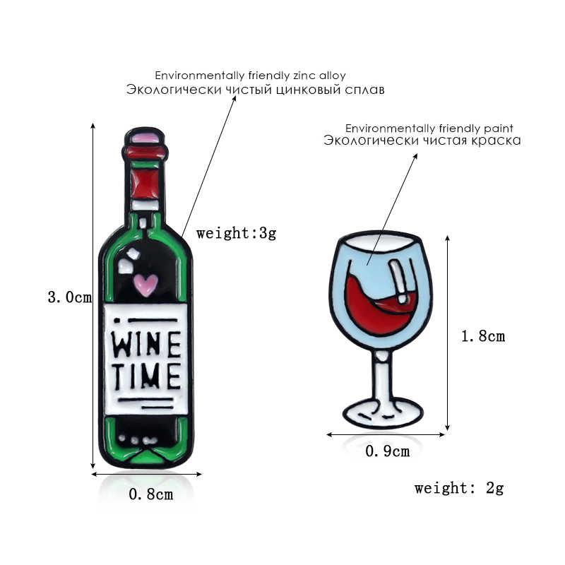 น่ารักและโรแมนติกสไตล์เข็มกลัด Assemblage แว่นตาไวน์แดงขวดถ้วย Dialogue Musical Note ป้ายพยาบาลหลอดไฟรูปร่างเข็มกลัดเข็มกลัด