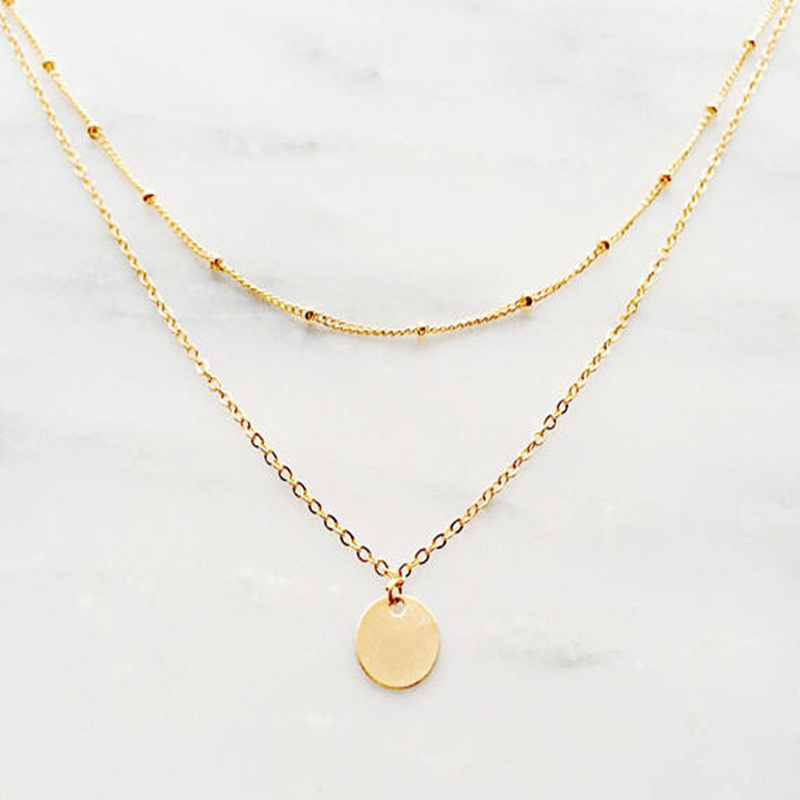 Gold Layered Necklace / Gold Coin Necklace / Satellite Chain Necklace / Bohemian Necklace / Bridesmaid