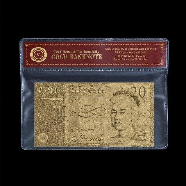 Us 20 Vergoldet Banknote 24 Karat Goldfolie überzogen Uk 20 Pfund Banknoten Papier Geld Sammeln Souvenir Geschenke Mit Coa Rahmen In Vergoldet