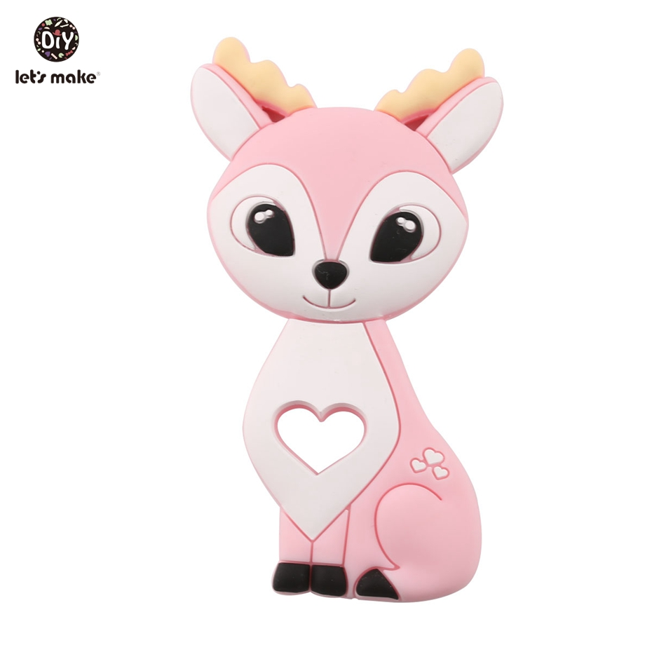 Let's Make Silicone Animals Cartoon Sika Deer Food Grade Silicone Fawn Soft Elk Hot Sale Newest Gift Baby Teethers Patent Owner