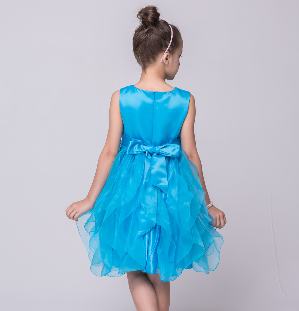 Solid Color Wedding Party Kids 2 To 12 Years Children\'s Outfits Sky ...