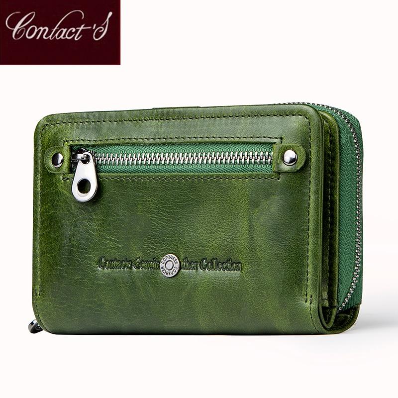 6a229029a Contacto de moda cartera pequeña de cuero genuino de las mujeres monedero  corto carteras para mujeres