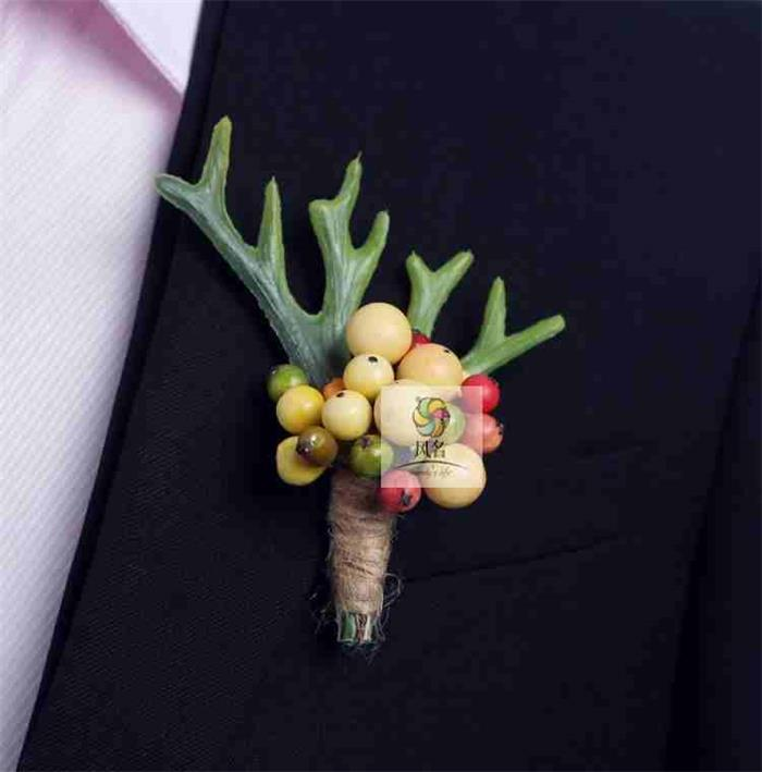 4 pcs/ lot DIY calla lilies Corsage Fashion Foam Fruit Grooms Display suit men Boutonniere pin brooch Wedding party decor C1